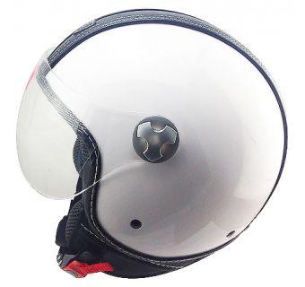 Hjälm Öppen / visir vit med svart läderdetalj M